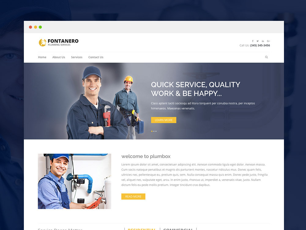 Free Plumbing Website Template