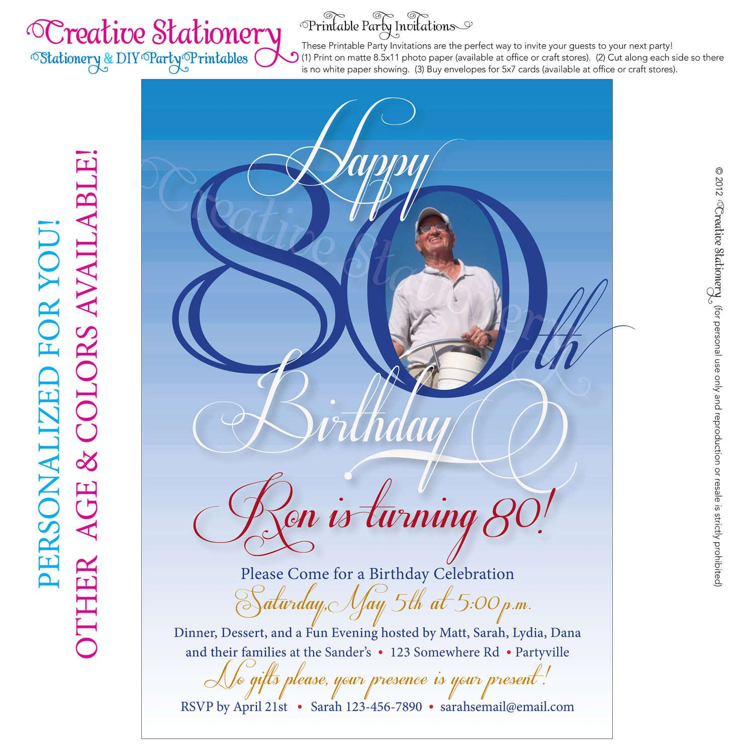 Free Printable 80th Birthday Invitations Templates