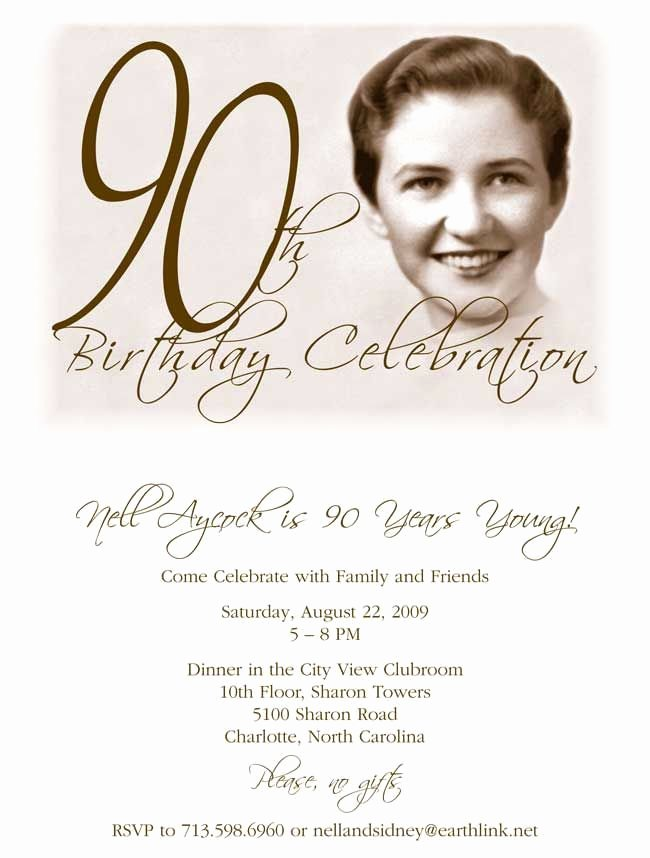 Free Printable 90th Birthday Invitation Template