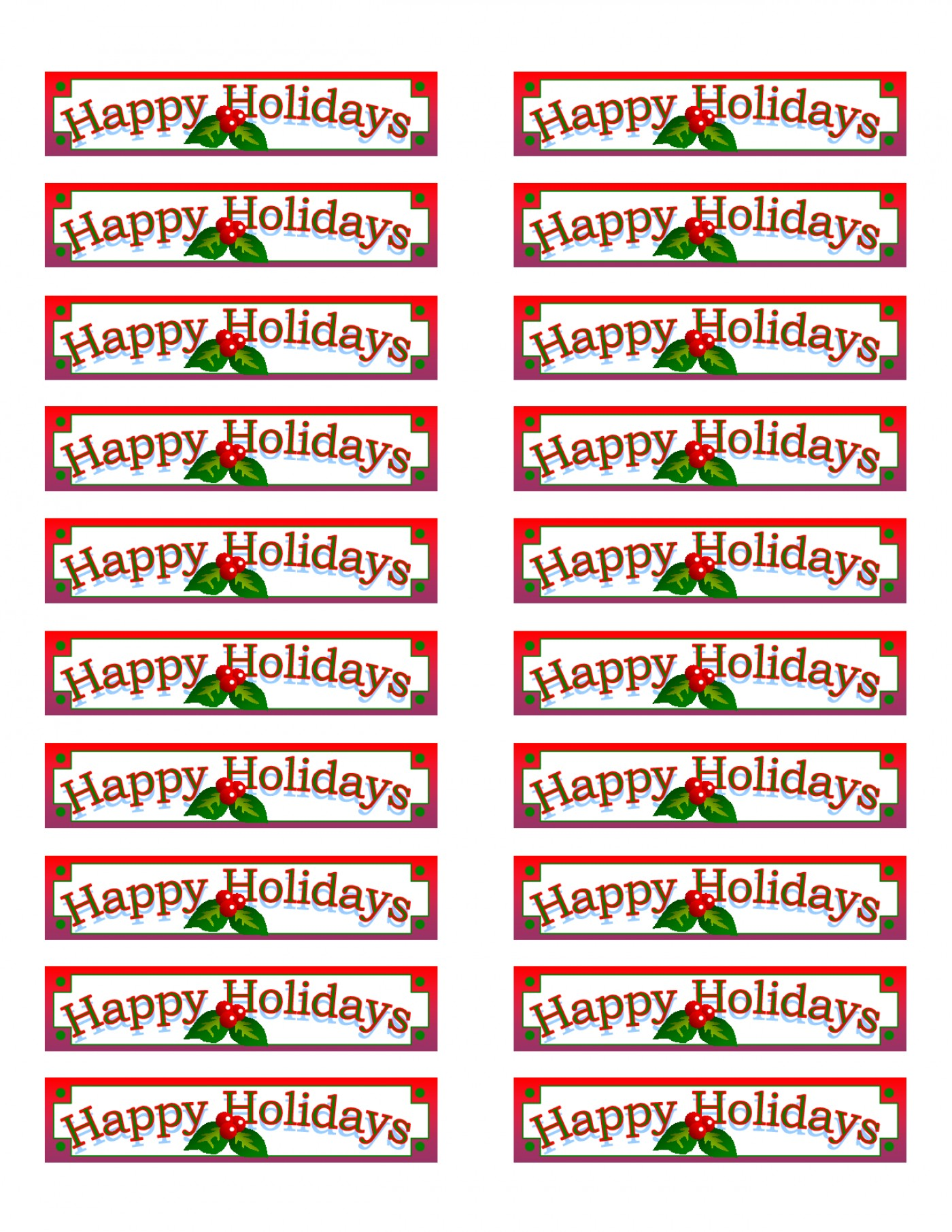 Free Printable Christmas Mailing Labels Template