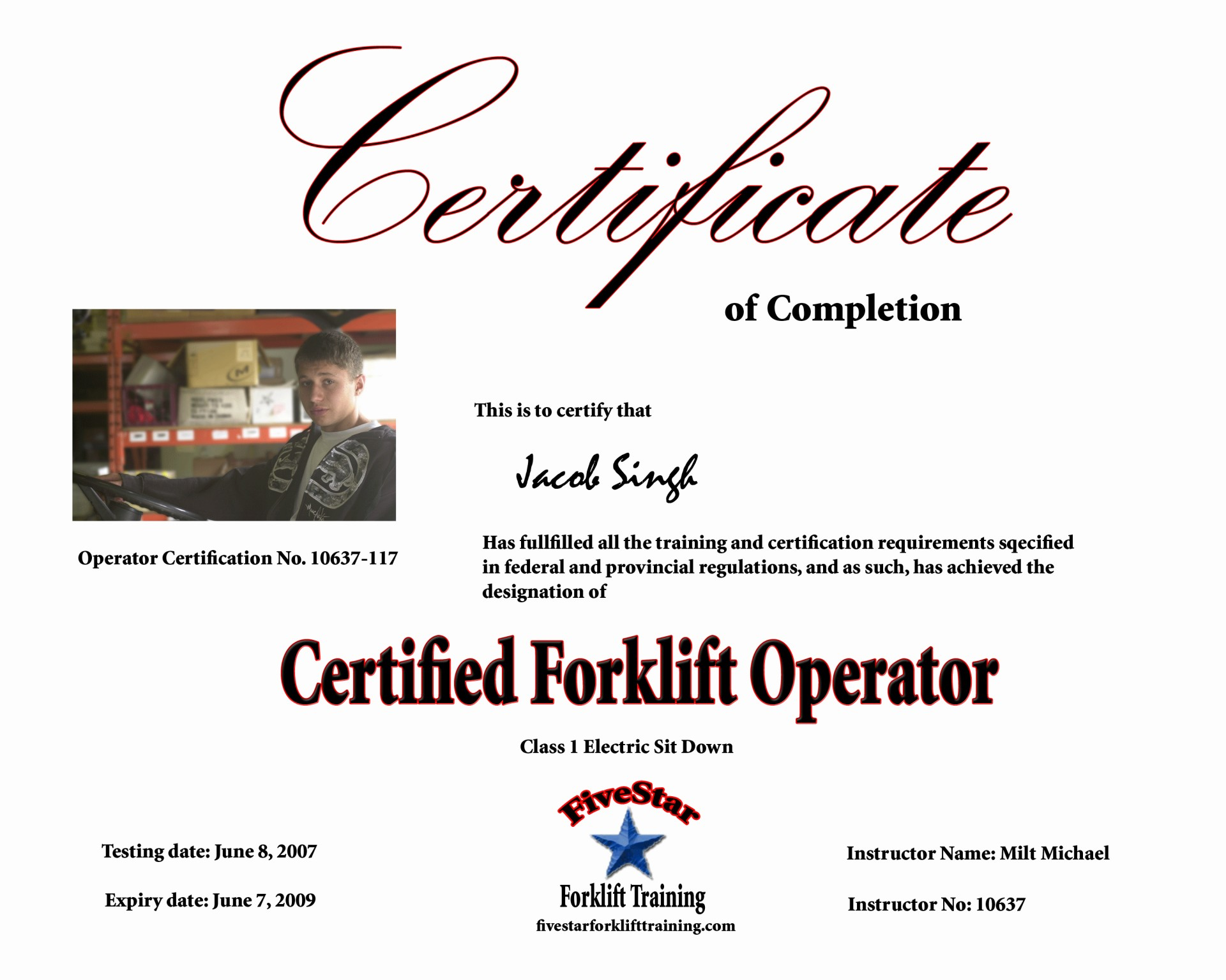 Free Printable Forklift License Template