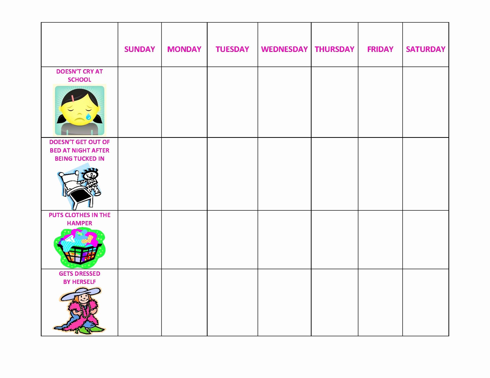 Free Printable Preschool Behavior Chart Template