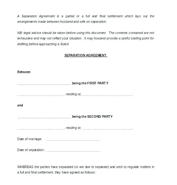 Free Printable Separation Agreement Ontario Template