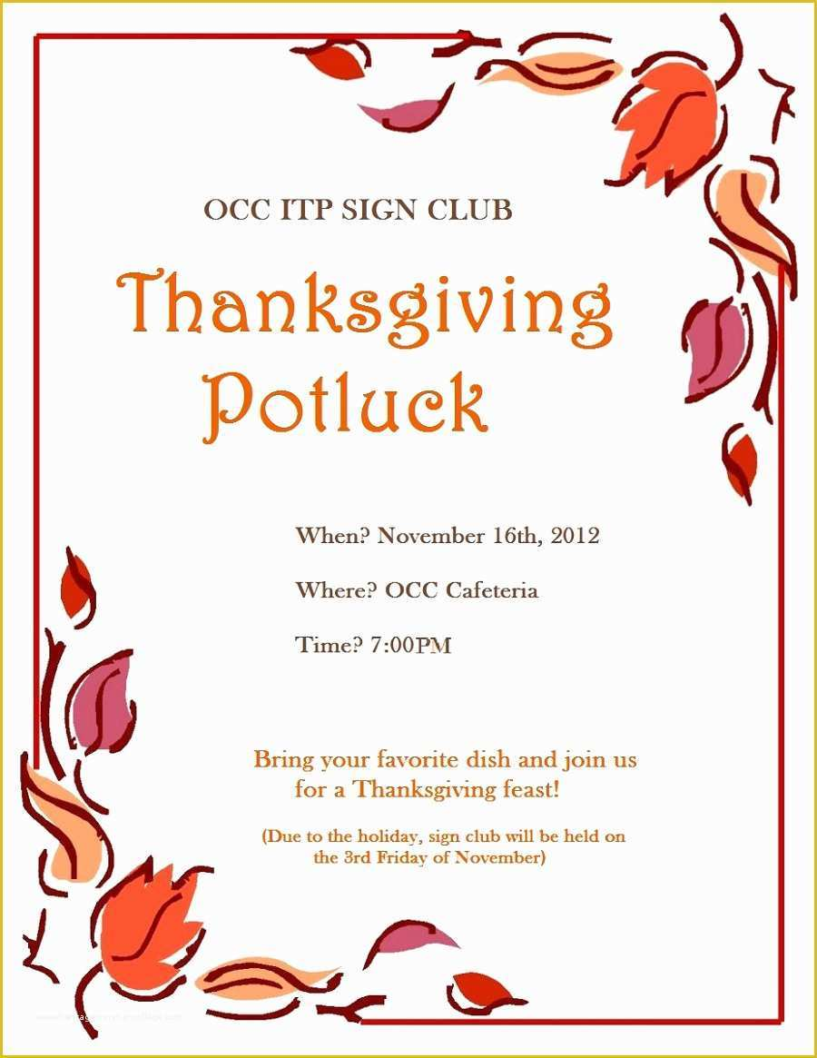 Free Thanksgiving Potluck Flyer Templates Of Free Thanksgiving Flyer Template Luxury Potluck Printable
