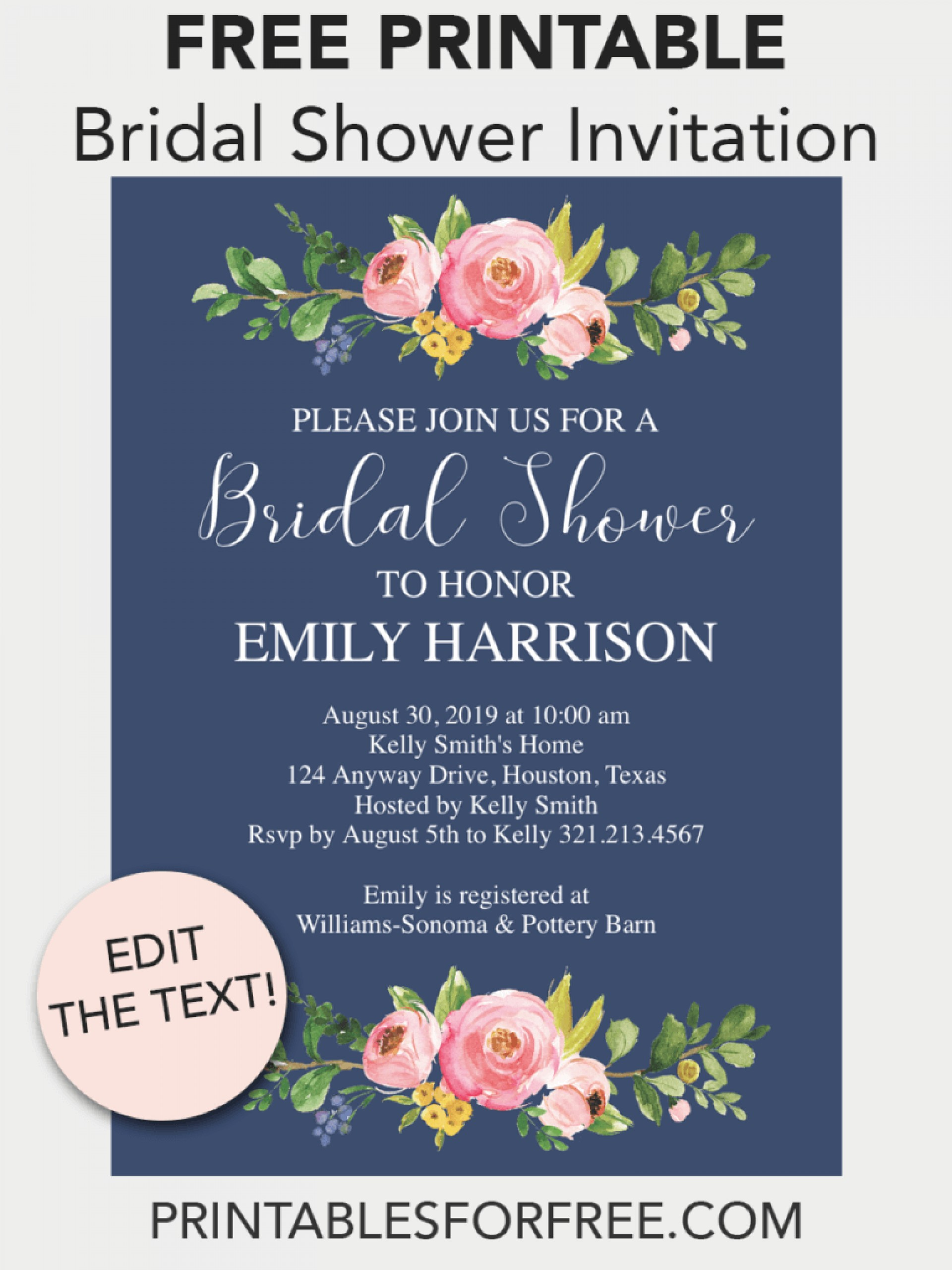 Free Printable Wedding Shower Invitations Templates