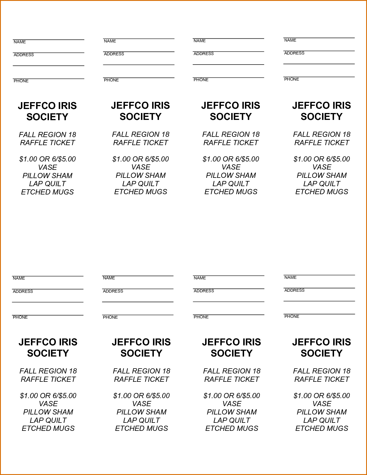 Free Raffle Ticket Templates With Numbers