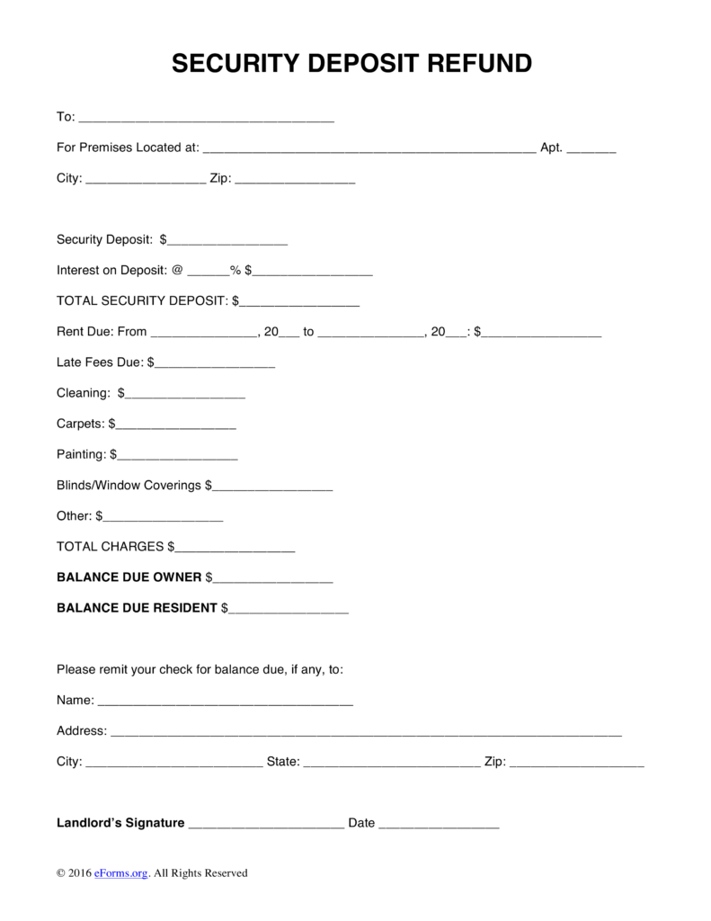 Free Security Deposit Return Letter Template