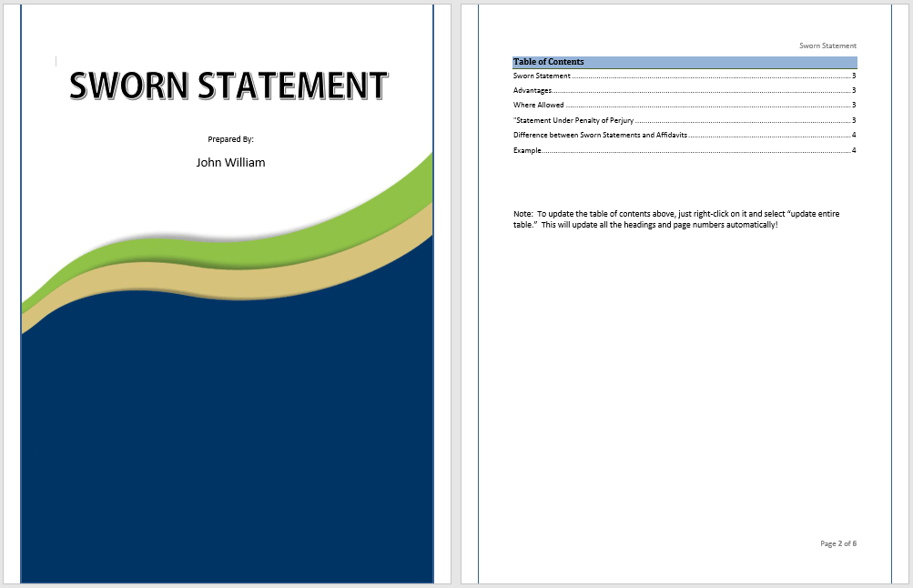 Free Sworn Statement Template
