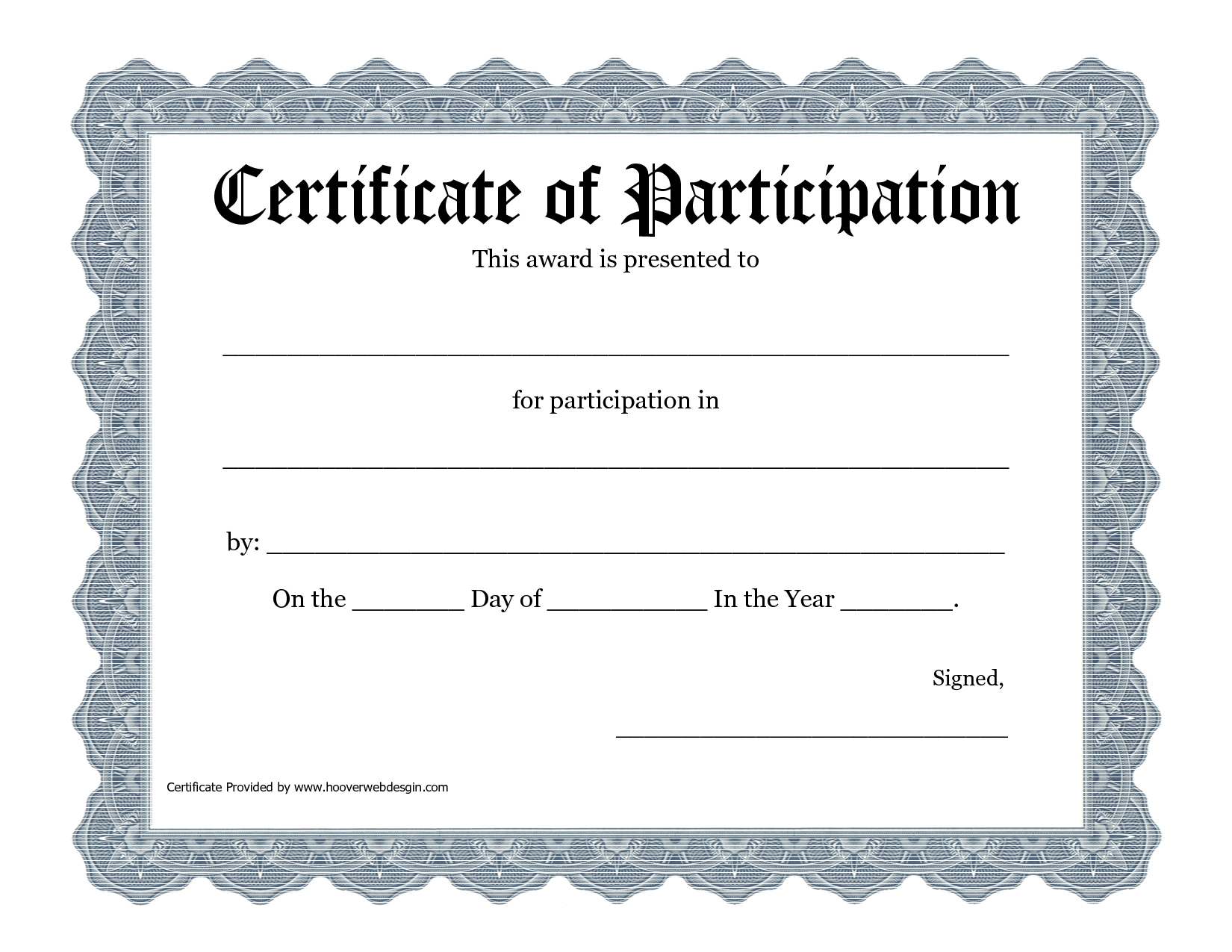 Free Templates For Certificates Of Participation