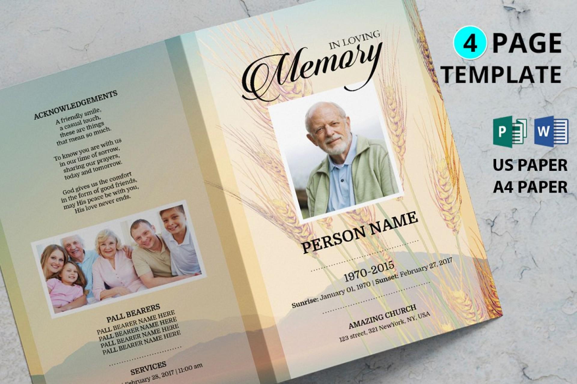 Free Tri Fold Funeral Program Template Word