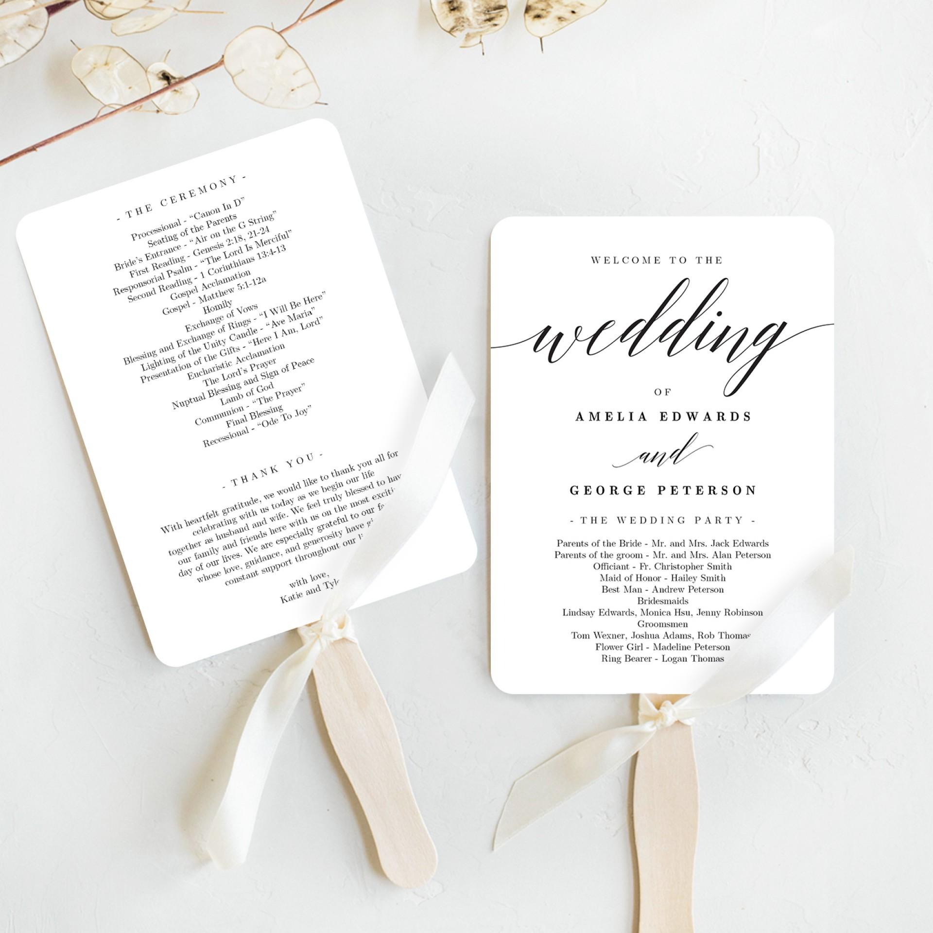 Free Wedding Fan Program Template
