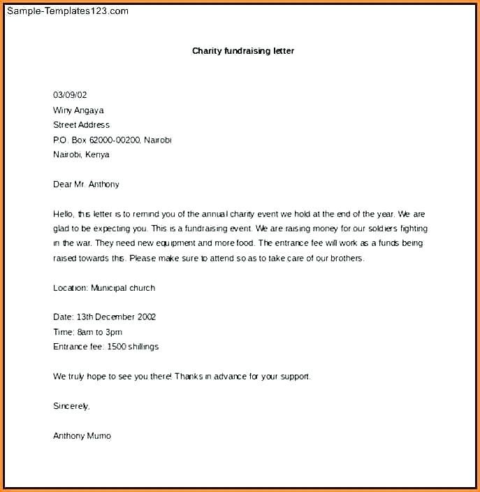 Fundraiser Letter Template