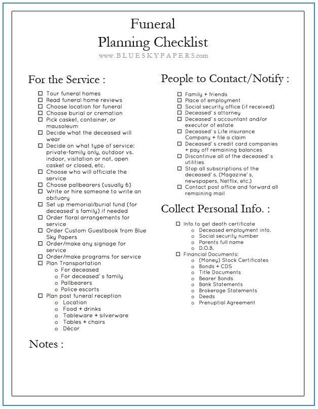 Funeral Checklist Template Australia