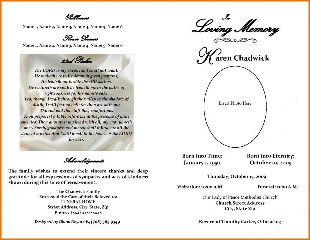 Funeral Program Free Printable Obituary Templates