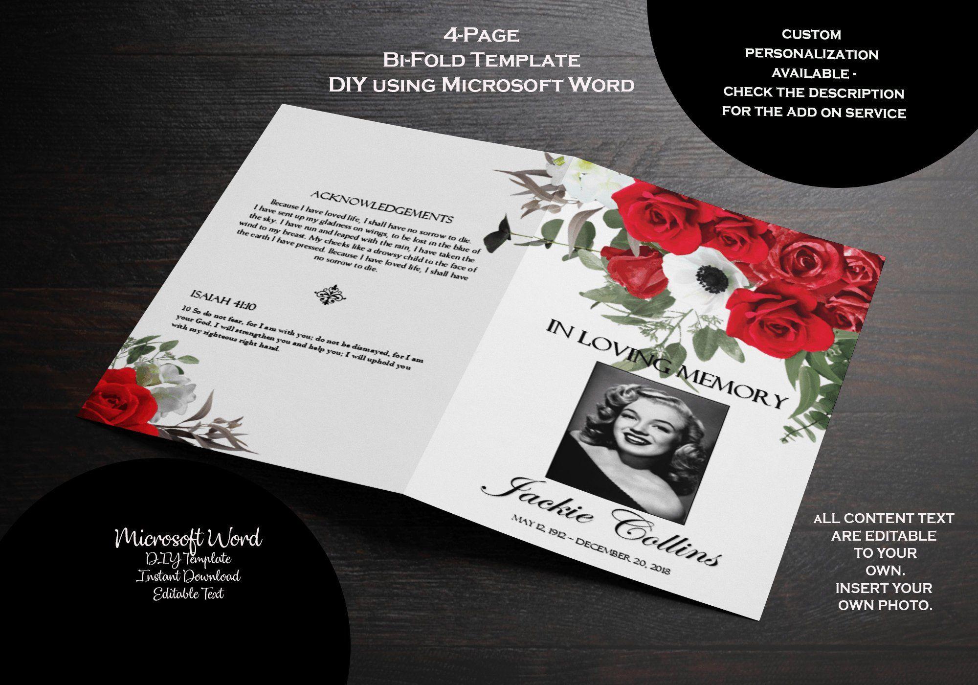 Funeral Program Memorial Folder Template