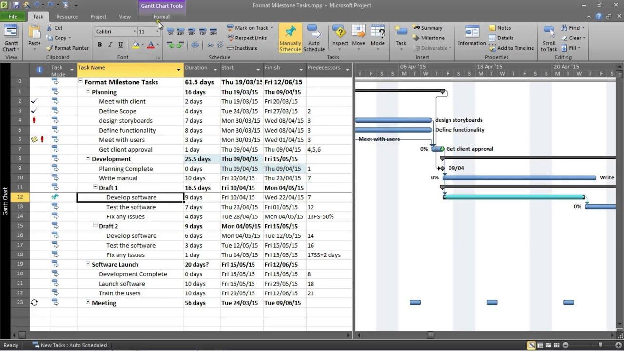 Gantt Chart With Milestones Excel Template