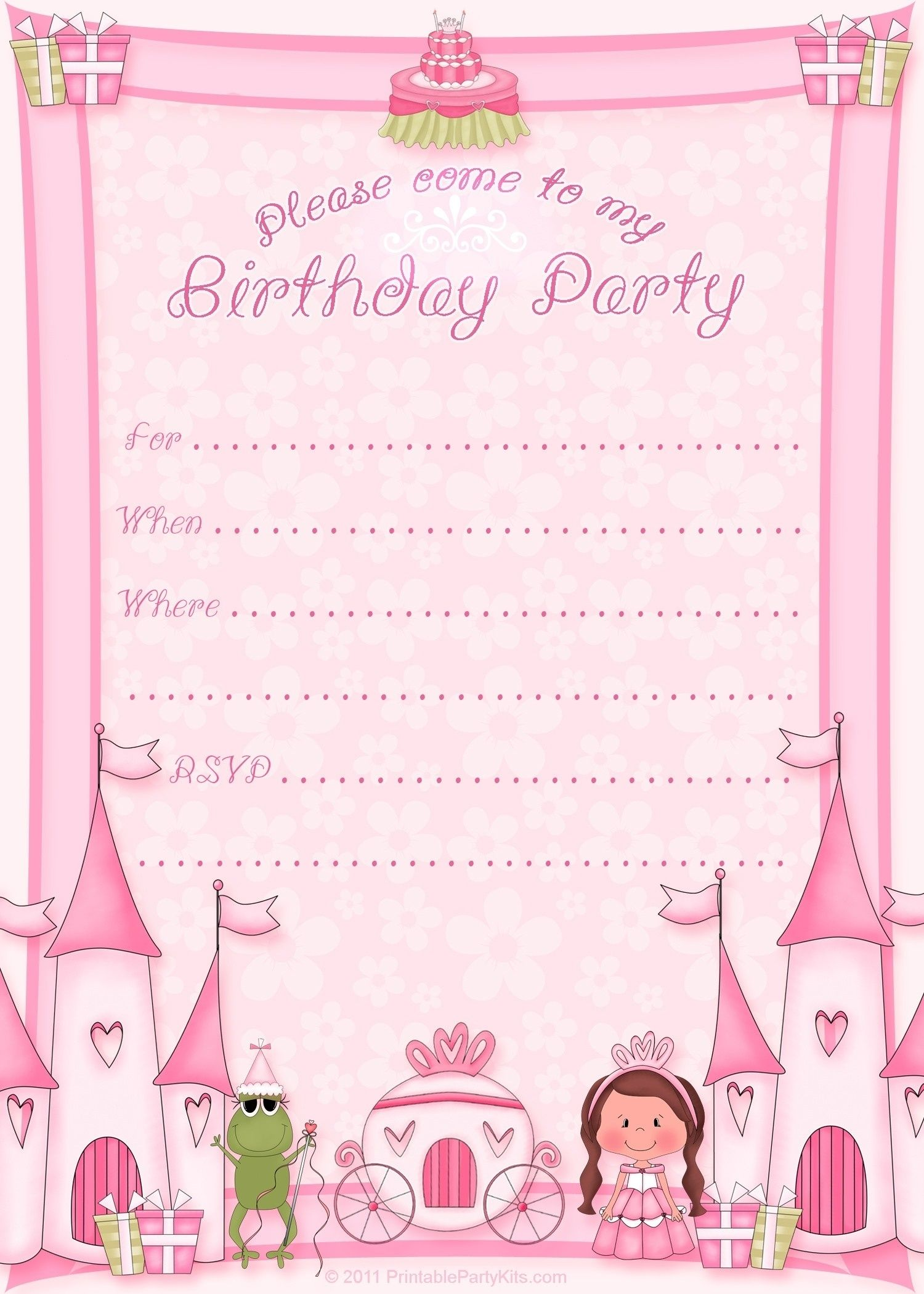 Girl Birthday Invitation Card Template