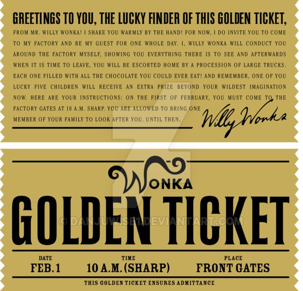 Golden Ticket Invitations Template Free
