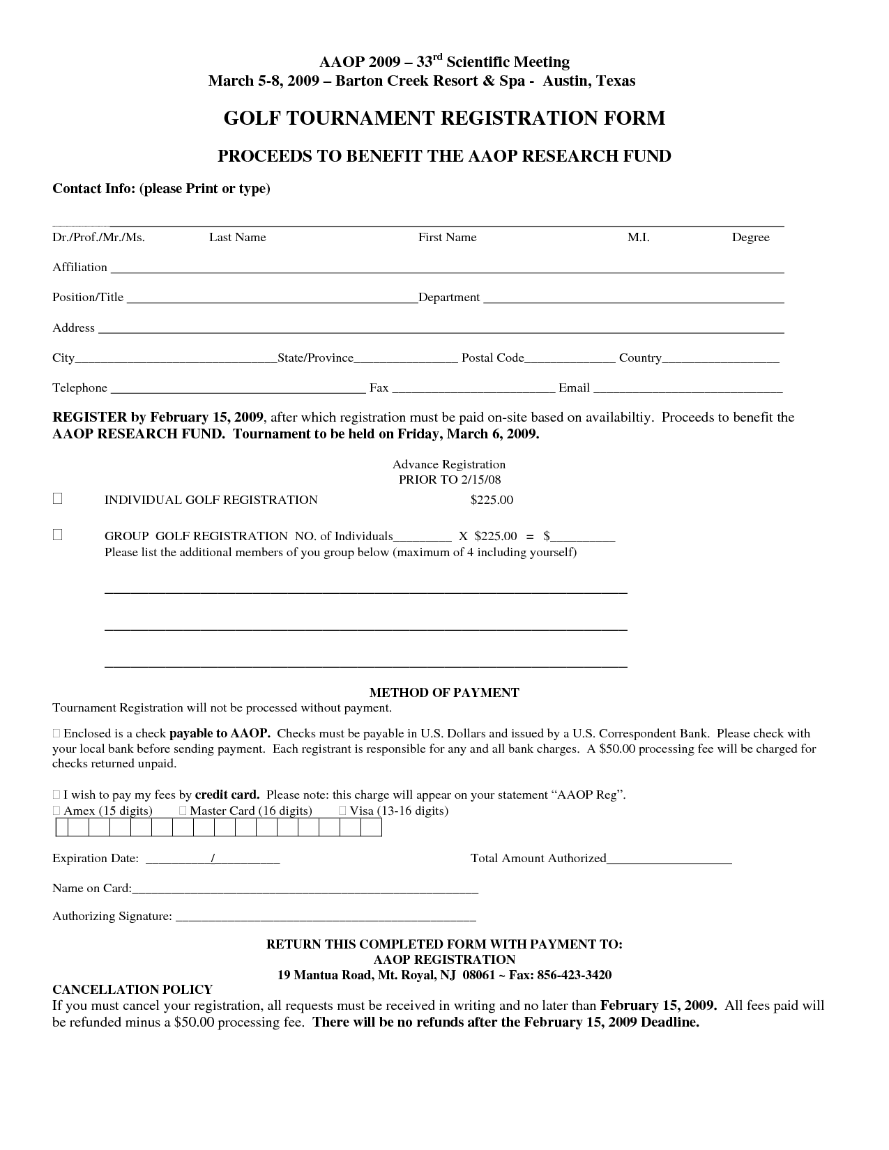 Golf Tournament Registration Form Template