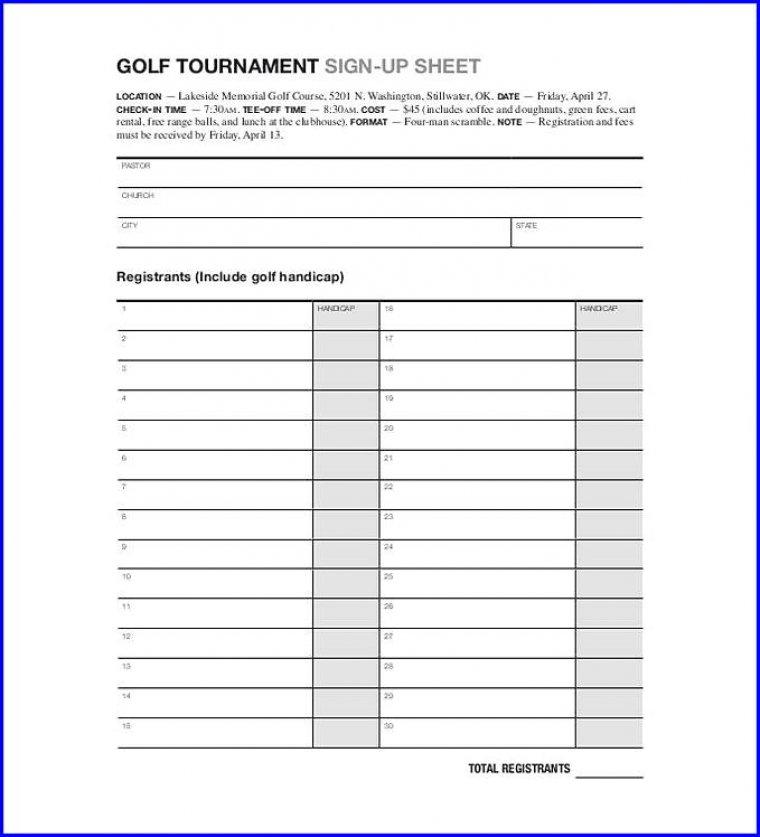 Golf Tournament Sign Up Sheet Template