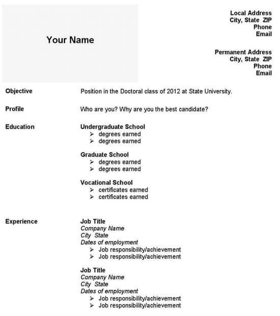 Graduate School Admissions Resume Template