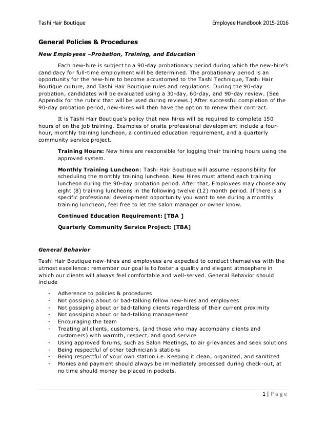 Hair Salon Employee Handbook Template