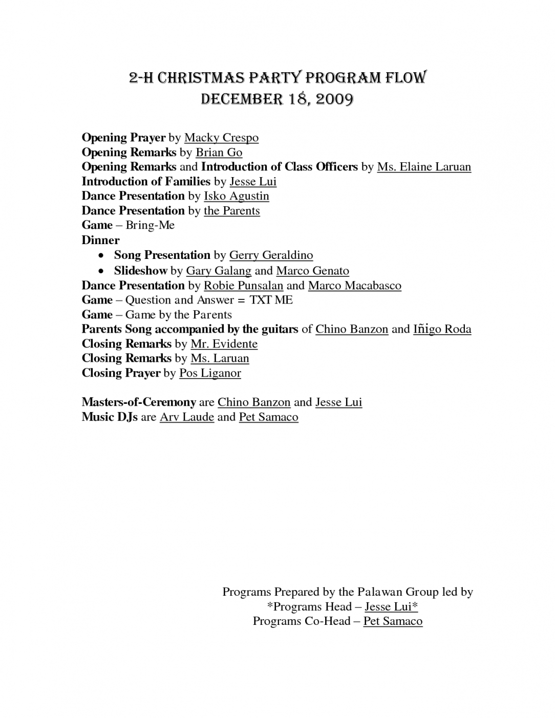 Christmas Party Itinerary Template Kairo.9terrains.co Holiday Party Agenda Template