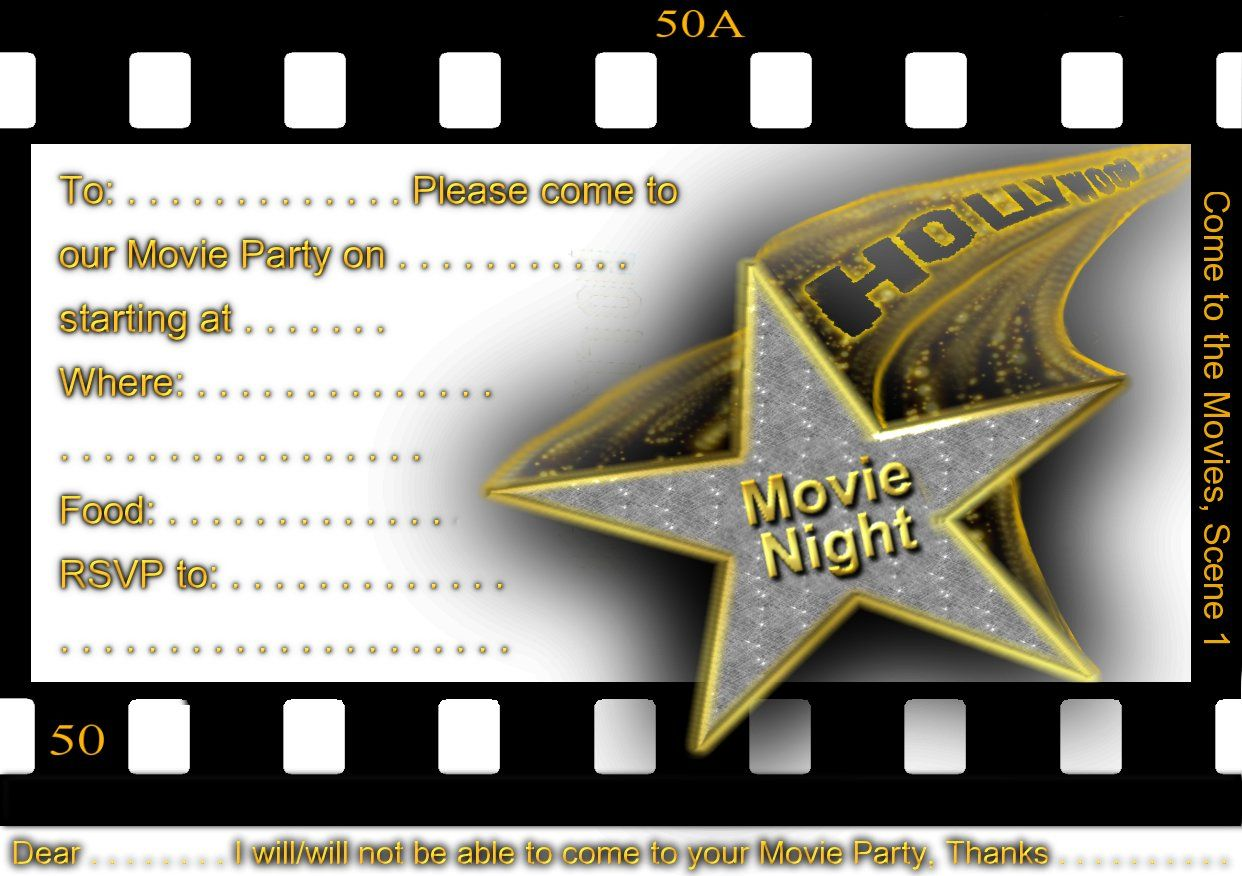 Hollywood Themed Invitation Template