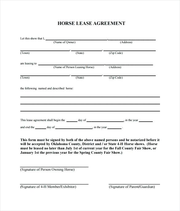 Horse Lease Agreement Template Canada