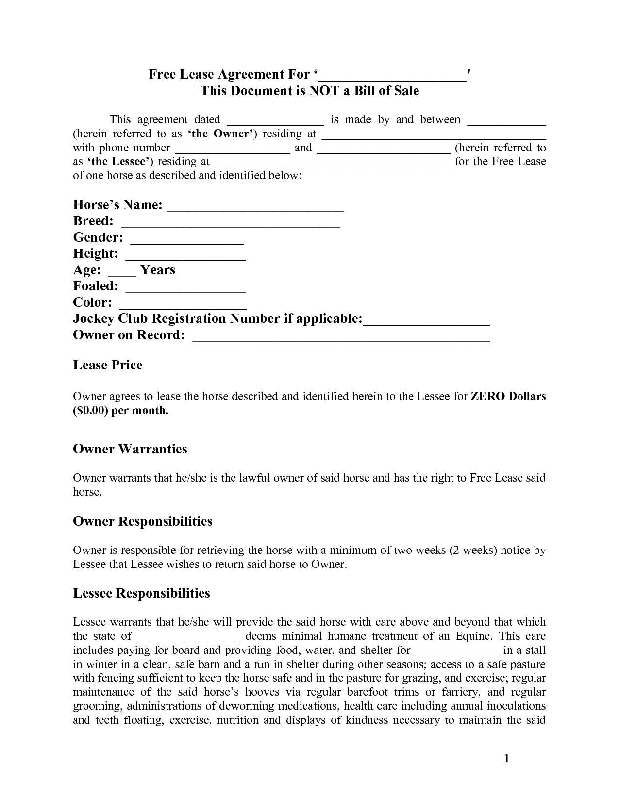 Horse Lease Agreement Template Free