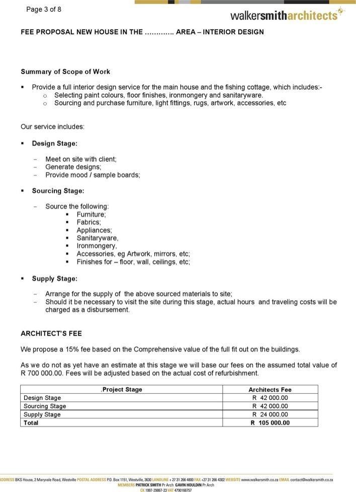 Interior Design Fee Proposal Template