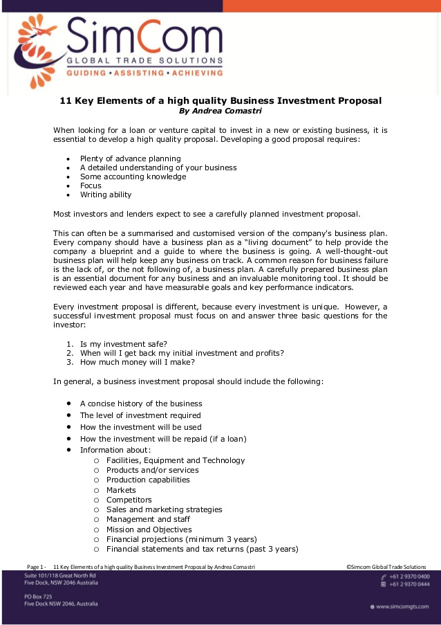 Investor Proposal Template Free