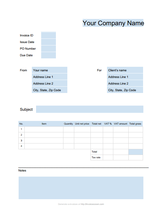 Invoice Template For Pages