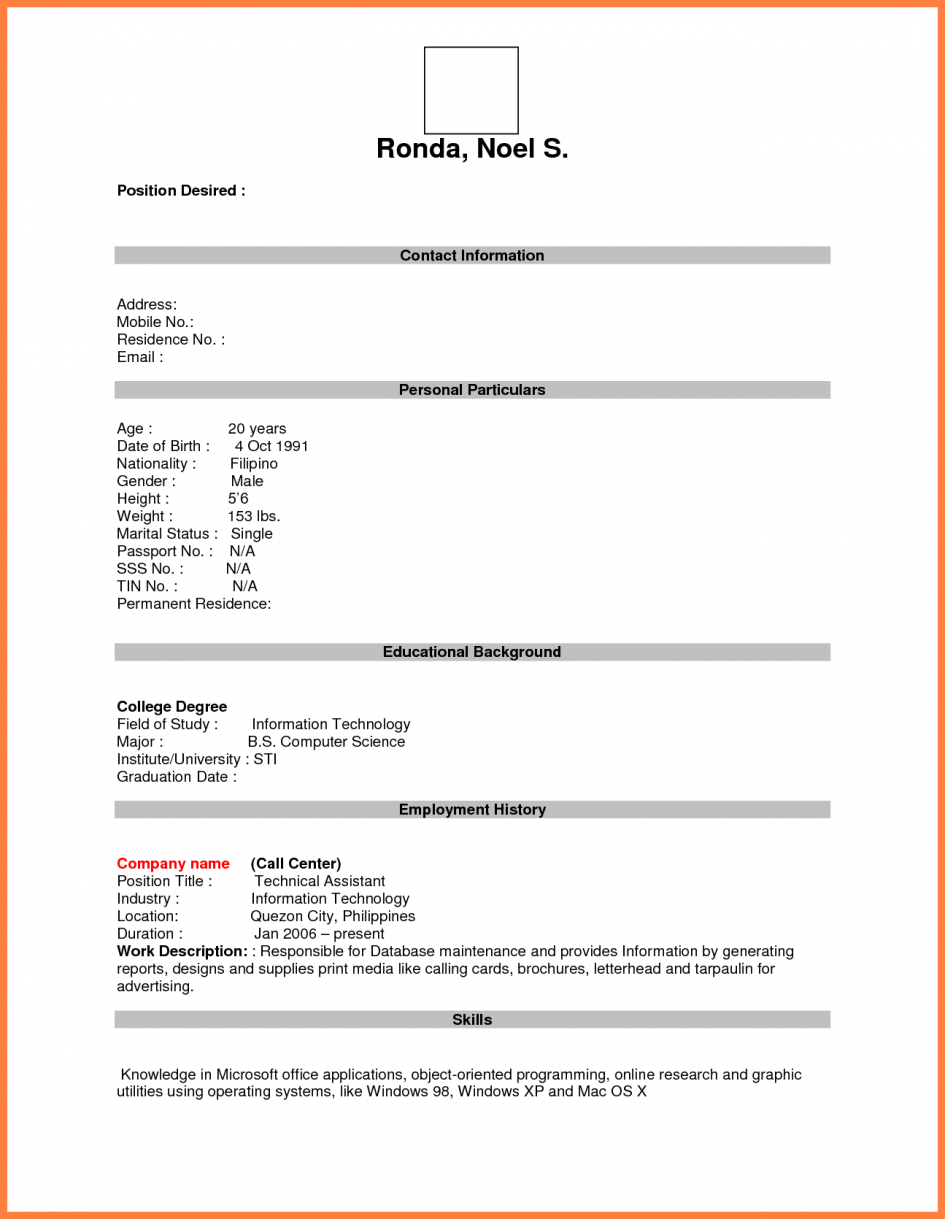 Job Application Blank Resume Template Pdf