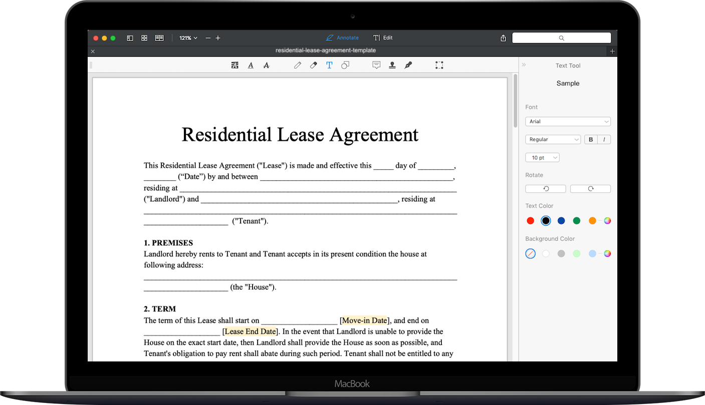 Landlord Rent Lease Template