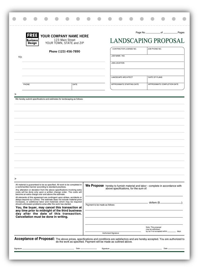 Landscaping Proposal Template Free