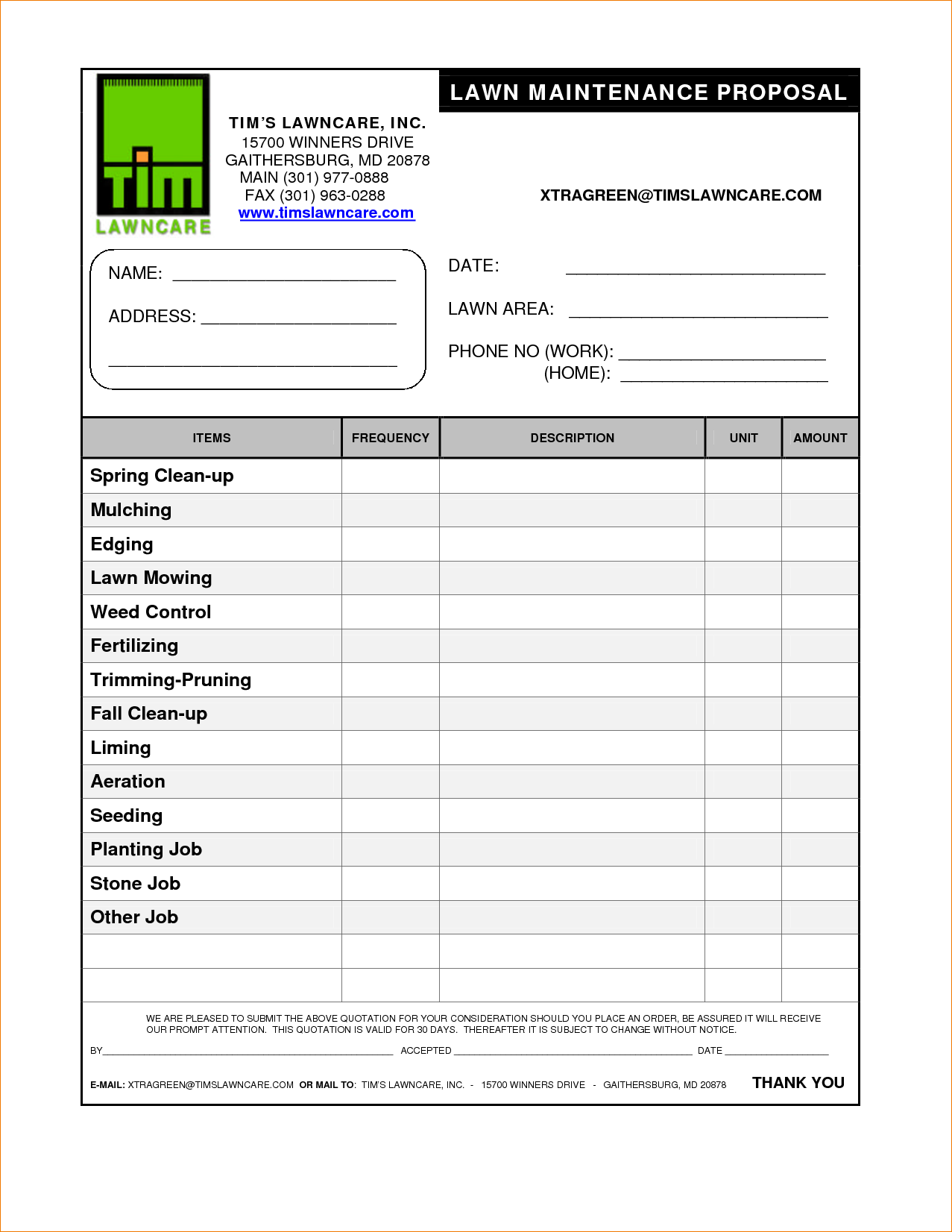 Lawn Care Bid Proposal Template Free