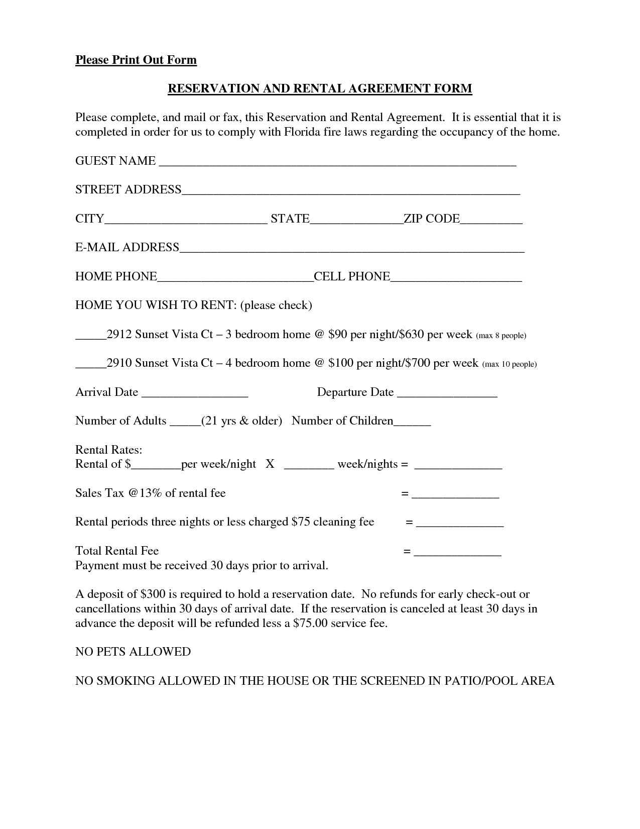 Lease Agreement For Renting A Room Template