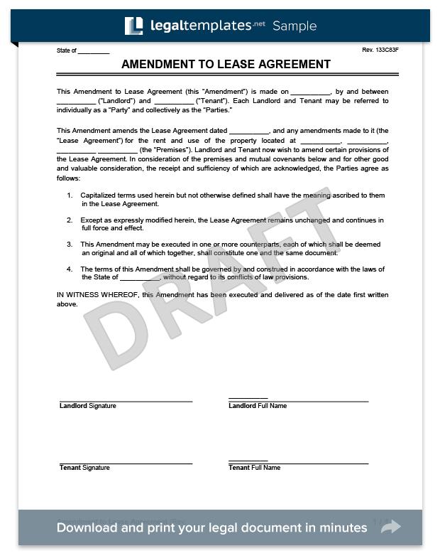 Lease Amendment Template