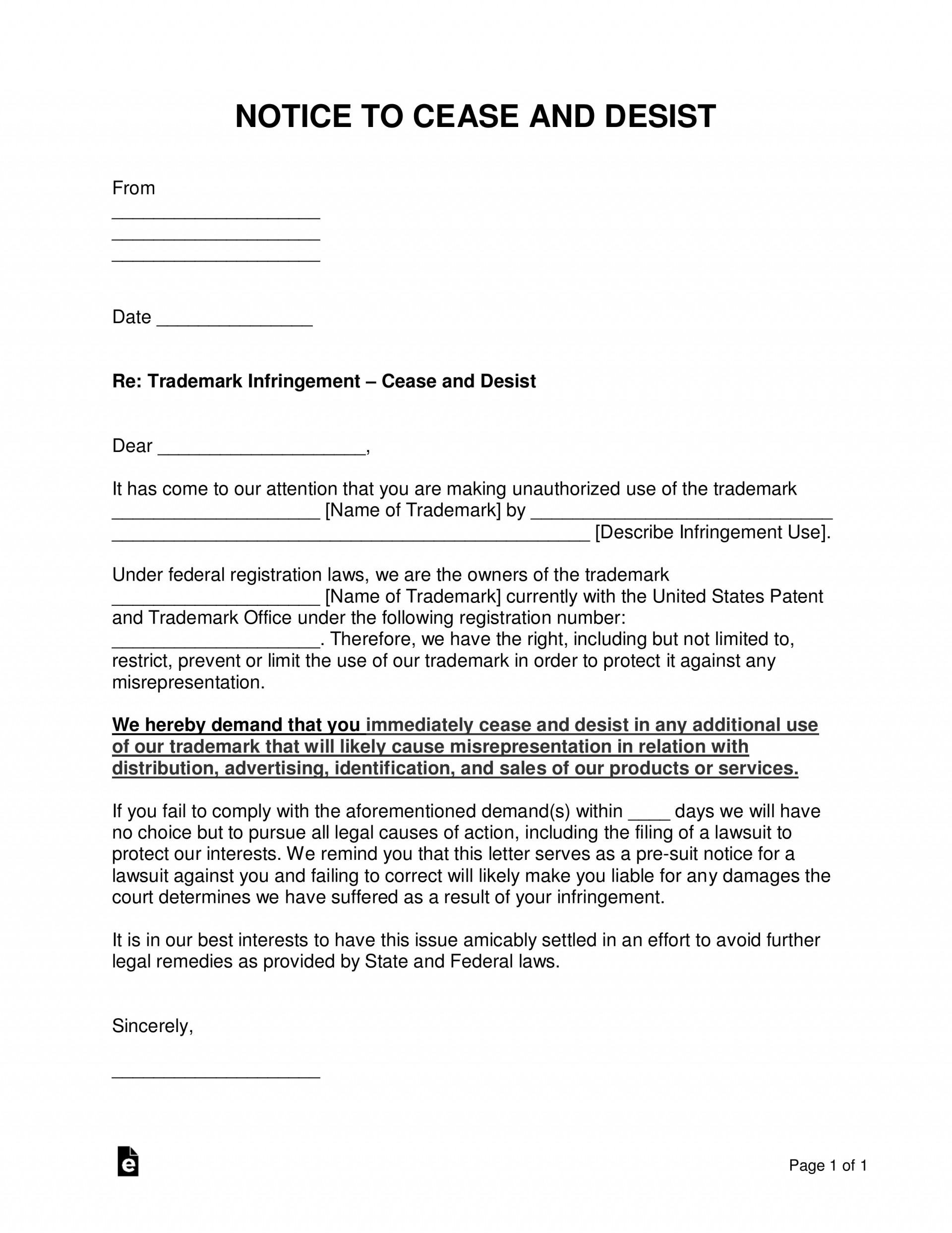 Legal Cease And Desist Letter Template