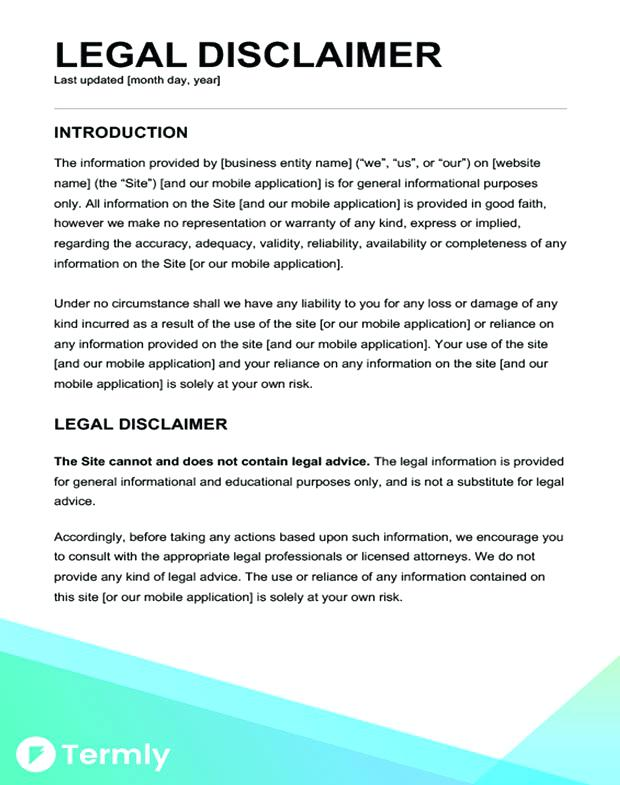 Legal Disclaimer Template