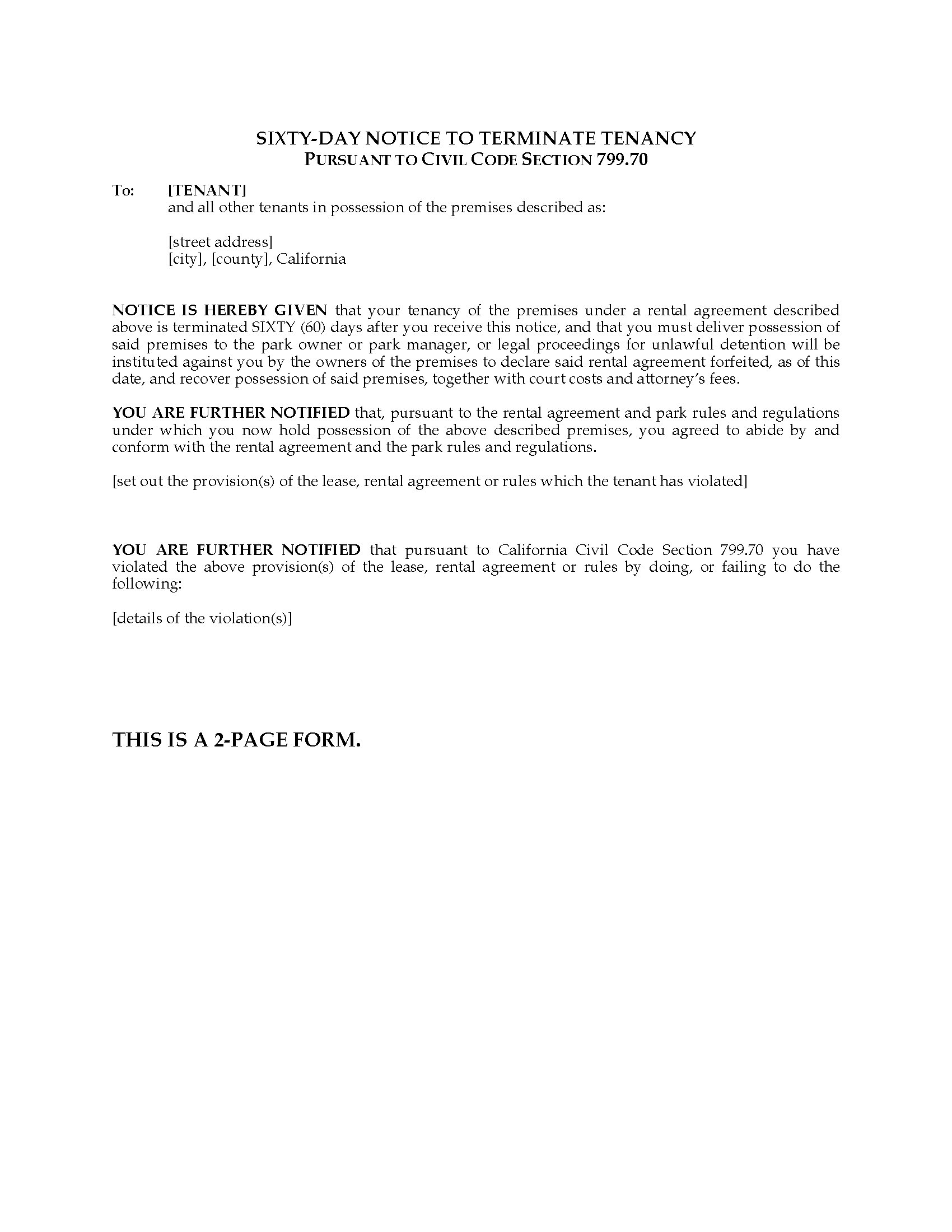 Letter Template Notice To Terminate Tenancy