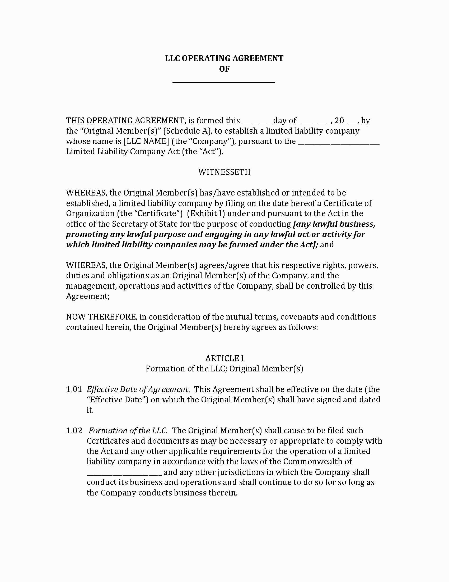 Llc Separation Agreement 66686 New York Single Member Llc Operating Agreement Template