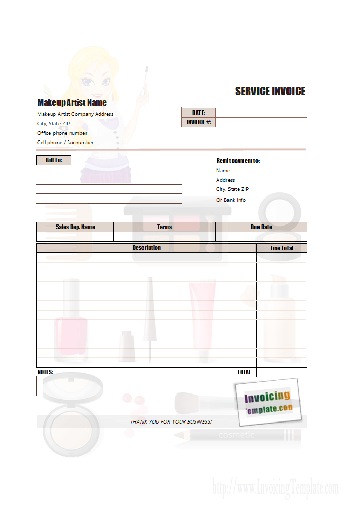 Makeup Invoice Template