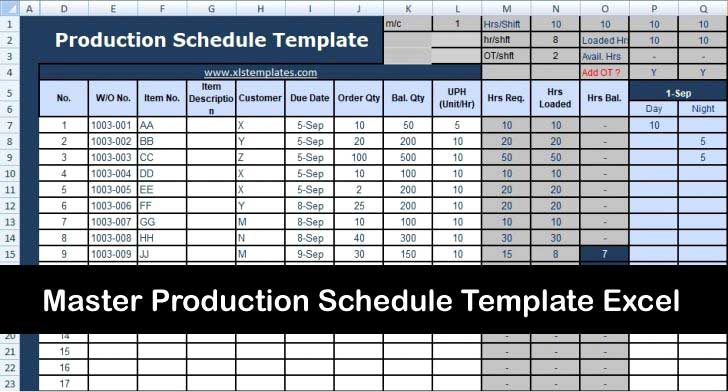 Master Production Schedule Template Excel