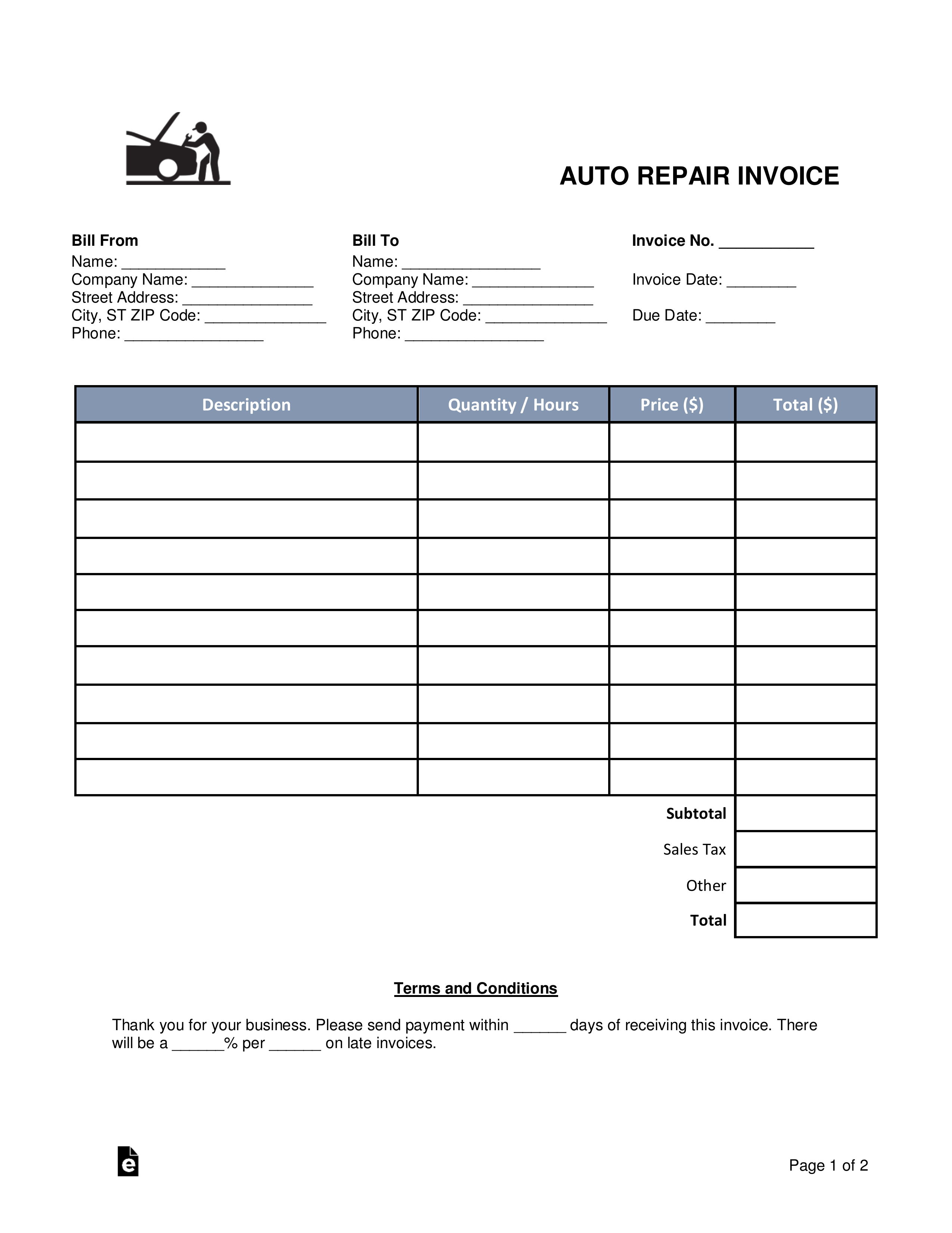 Mechanic Invoice Template Free