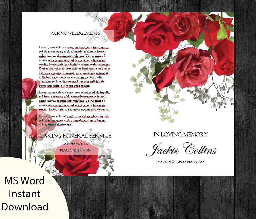 Memorial Folder Template Word