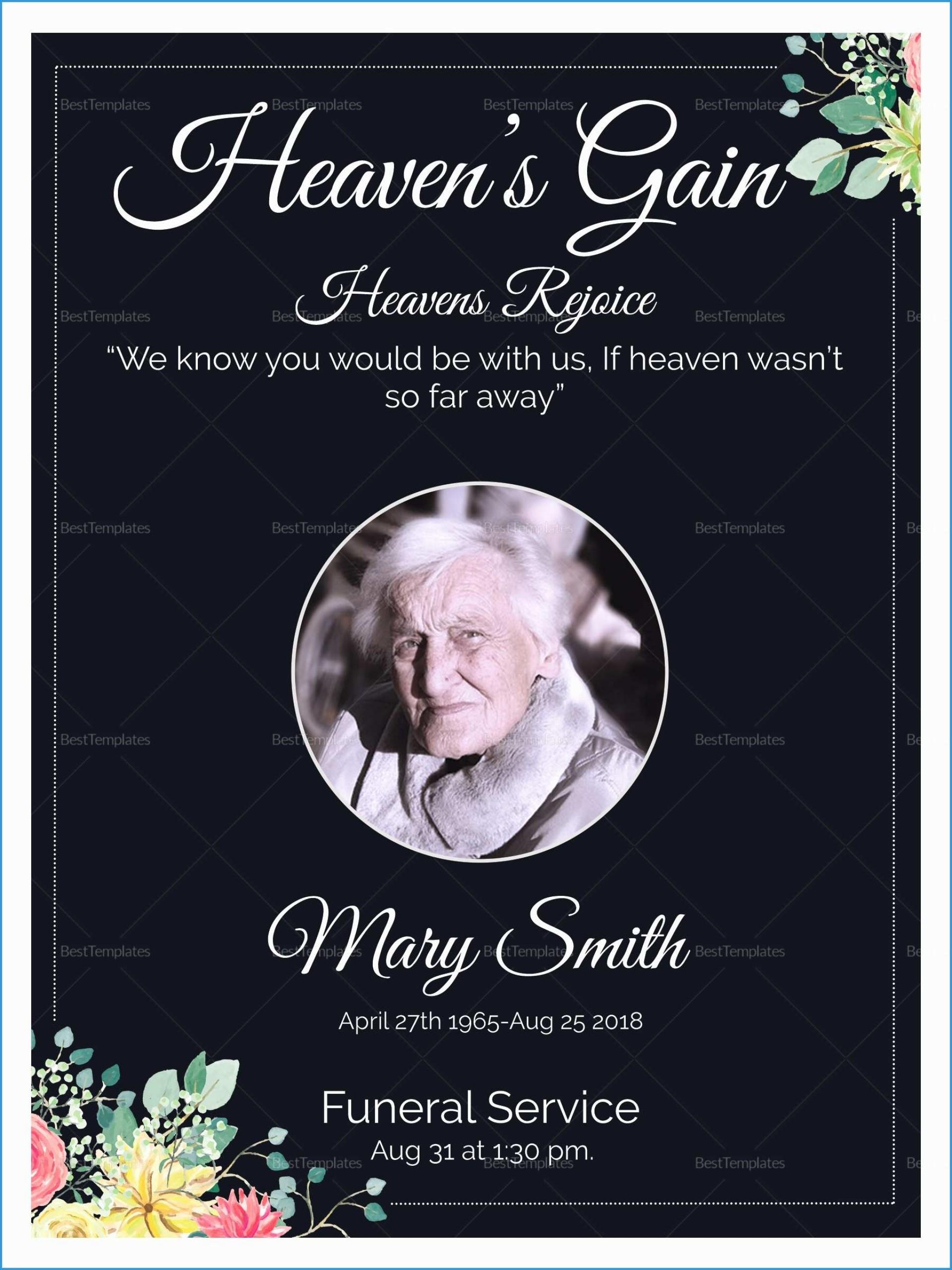 Memorial Service Invitation Card Template