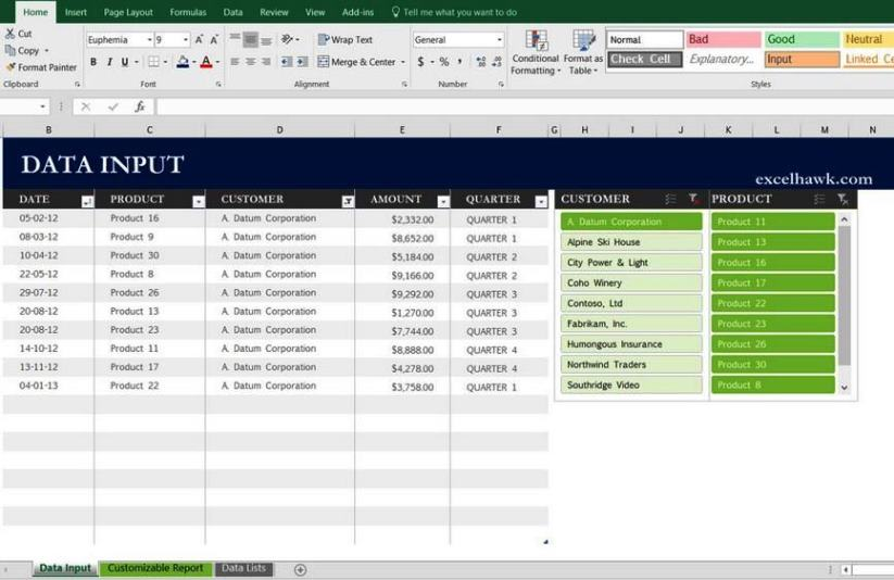 Microsoft Excel Sales Report Template
