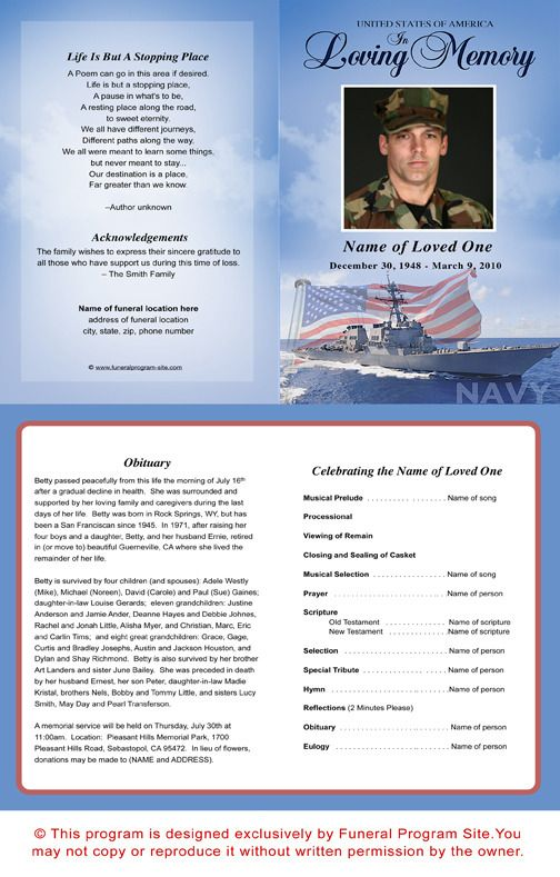 Military Memorial Service Program Template